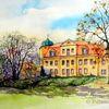 Schloss, Aquarell, Aquarelle architektur