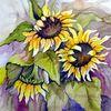 Blumen, Sonnenblumen, Blumenaqarell, Pflanzen