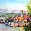 Stadtansicht, Landschaftsmalerei, Kroatien, Stadt
