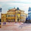 Dresden, Oper, Platz, Aquarell