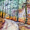 Herbst, Waldweg, Wald, Aquarell