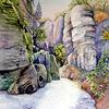 Landschaft, Aquarellmalerei, Wanderweg, Böhmischen