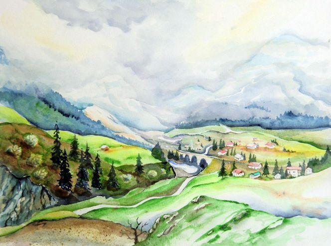 Landschaft, Schweiz, Aquarellmalerei, Frühling, Aquarell