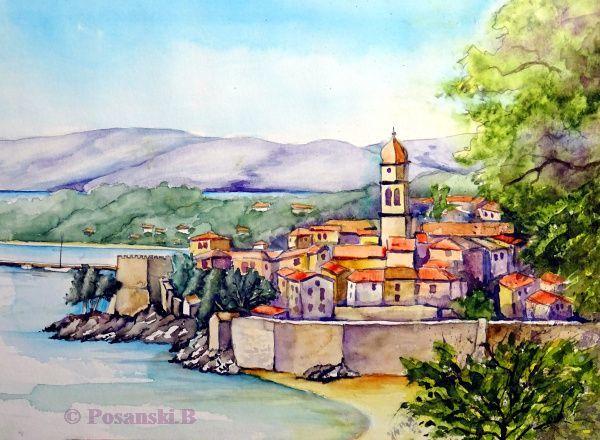 Stadtansicht, Landschaftsmalerei, Kroatien, Stadt, Aquarell,