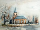 Aquarellmalerei, Dorfkirche, Kirche, Kleinpösna