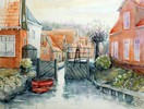 Aquarellmalerei, Landschaft, Holland, Gracht