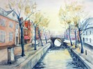 Aquarellmalerei, Landschaft, Straße, Holland