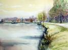 Deich, Aquarellmalerei, Holland, Landschaft
