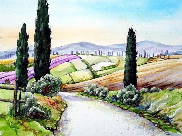Landschaft, Toskana, Hügellandschaft, Aquarell