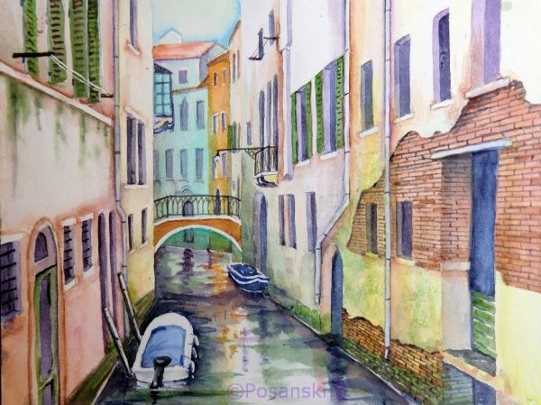 Bild venedig italien architektur aquarellmalerei von for Architektur aquarell