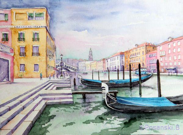 Bild venedig kanal kanale grande architektur von for Architektur aquarell