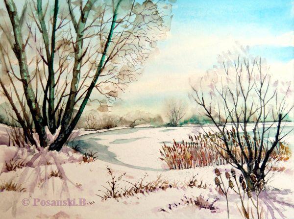 Winter, Schnee, Winterlandschaft, Kiesgrube, Kleinpösna, See