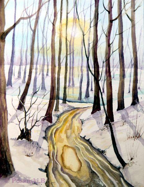 Wald, Winter, Auwald, Aue, Aquarell