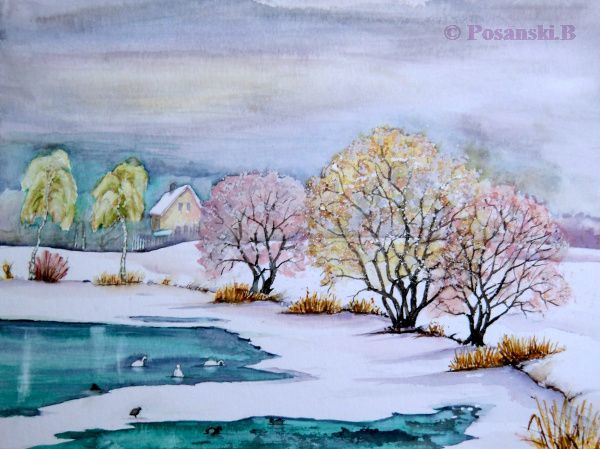 Winter, See, Autobahnsee, Beucha, Albrechtshain, Aquarell