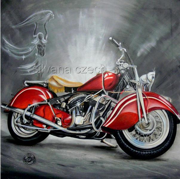 Route 66, Indisch, Gemälde, Rot, Chrom, Motorradmalerei