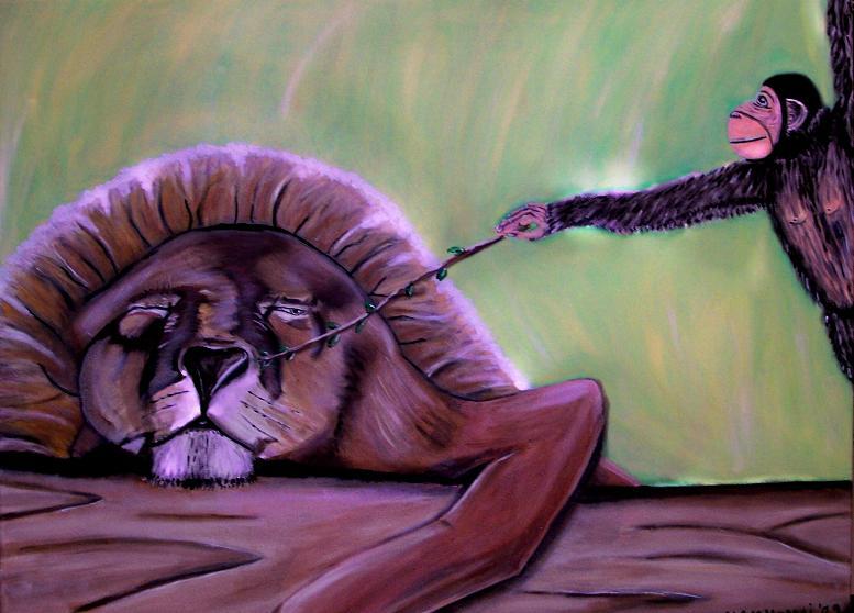 Resultado de imagen de löwe und affe