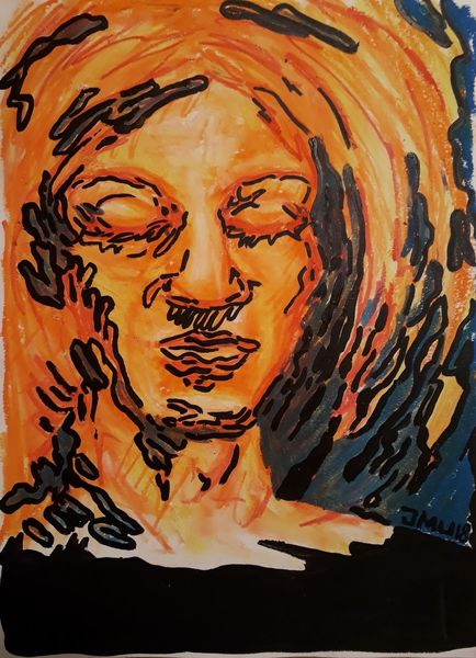 Gesicht, Pastellmalerei, Lackstift, Zeichnungen