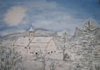 Unterammergau, Winter, Aquarellmalerei, Schnee