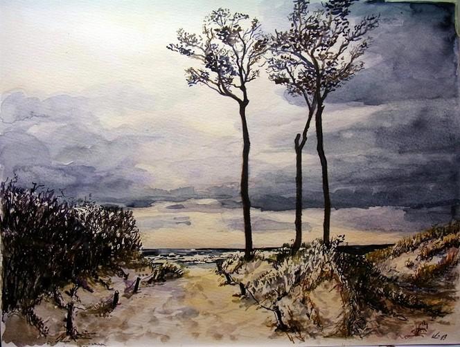 Strandaufgang, Darß, Aquarellmalerei, Aquarell, Herbst