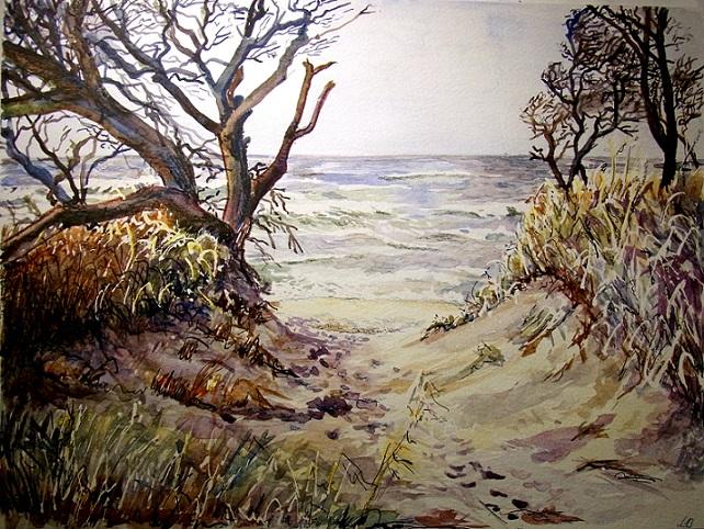 Strand, Aquarell