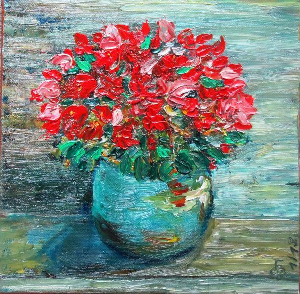 Ölmalerei, Pinsel, Nicht trocken, Blumen, Pflanzen, Blüte
