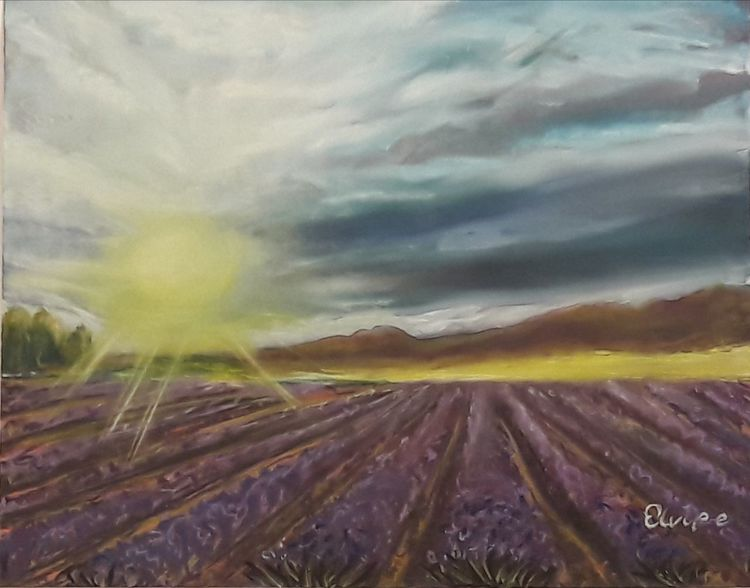 Himmel, Wolken, Sonne, Lavendel, Malerei