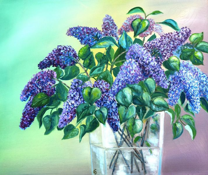Stillleben, Ölmalerei, Frühling, Blüte, Glas, Vase