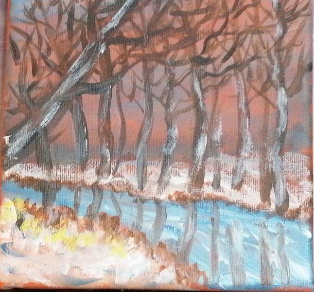 Baum, Nstur, Himmel, Winter, Bach, Malerei