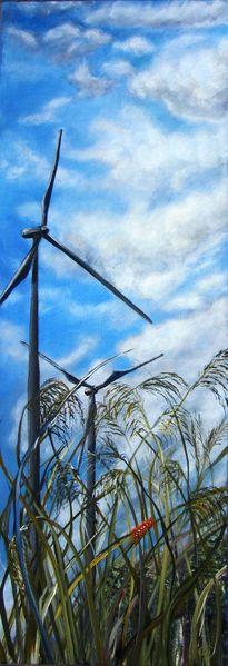 Energiegewinnung, Raupe, Jahrhundert, Windrad, Pflanzen, Perspektive