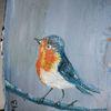 Rinde, Vogel, Rotkehlchen, Malerei