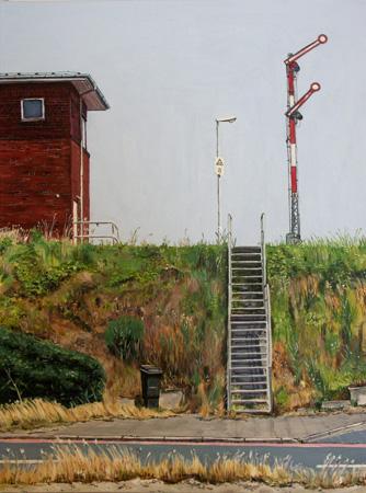Lampe, Stellwerk, Bahn, Mülltonne, Straße, Schiene