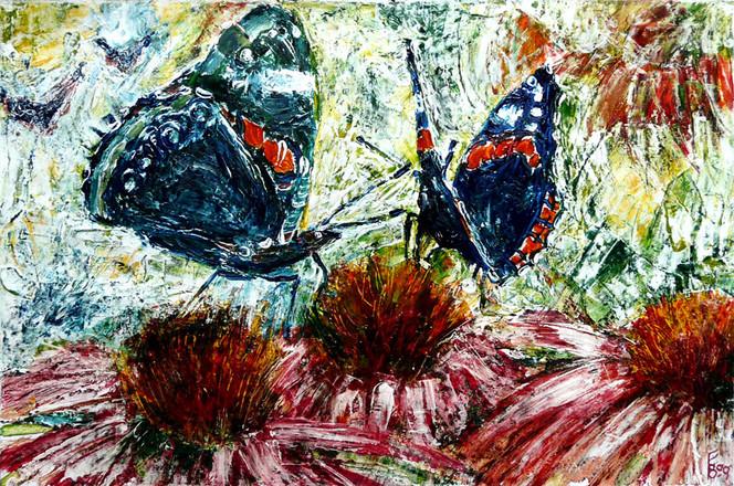 Inkcolor, Schmetterling, Flowering shrub, Admaink, Gemälde, Admiral