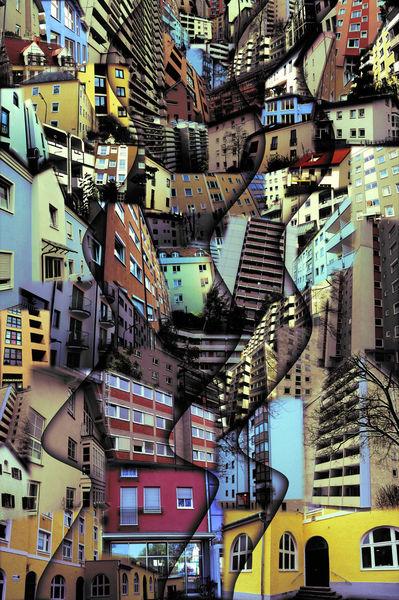 Collage, Haus, Welle, Composing, Münchner, Fotografie