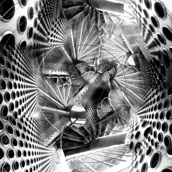 Stahl, Collage, Haus, Treppe, Konstruktion, Fotografie