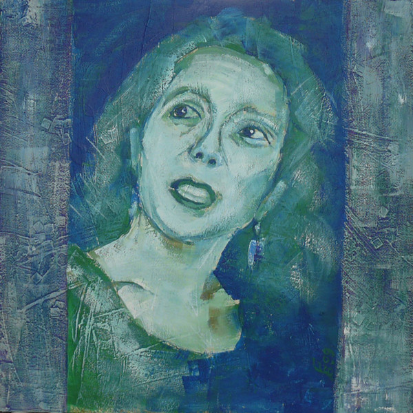 Frau, Dispersionsfarben, Grün, Carton coated, Portrait, Blau