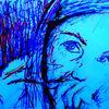 Zeichnung, Expressionismus, Kopf, Gemälde