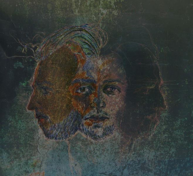 Blau, Kopf, Selfie, Portrait, Karton, Innere