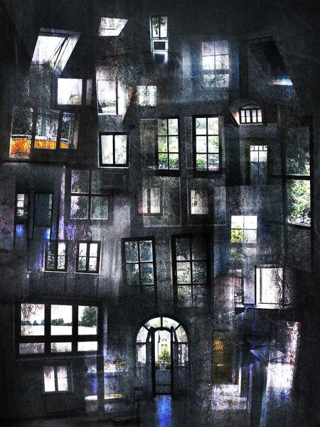 Digital, Ansicht, Angst, Architektur, Fenster, Überblick
