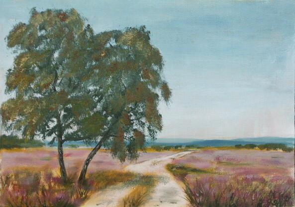 Heide, Rosa, Weg, Landschaft, Malerei