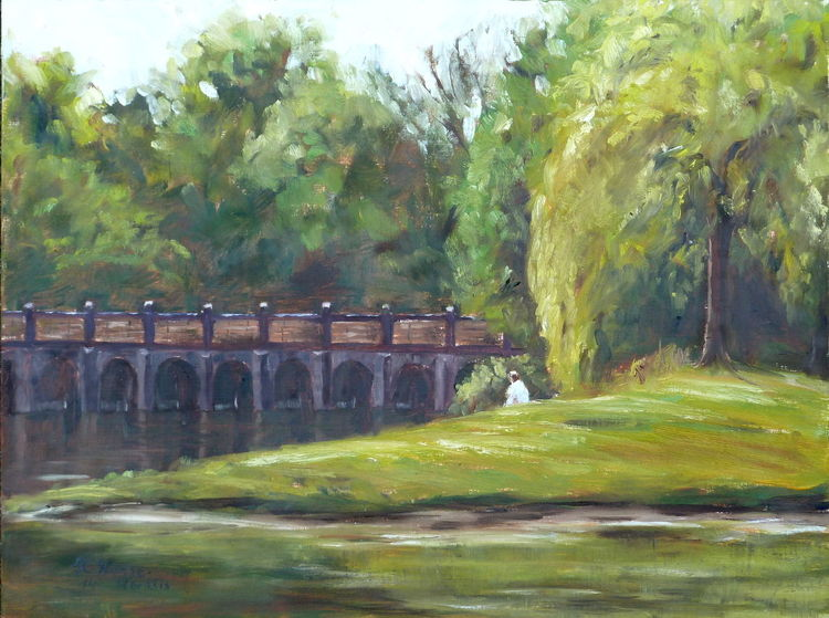 Ölmalerei, Park, Garten, Grün, Baum, Weiß