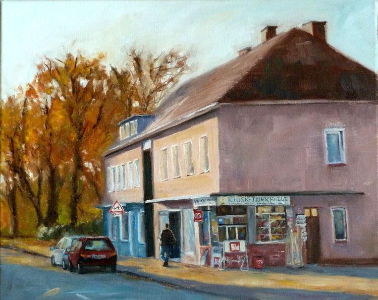 Kiosk, Sonne, Haus, Ölmalerei, Trinkhalle, Straße
