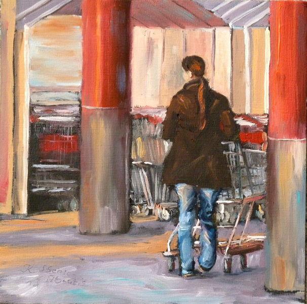 Jeans, Ölmalerei, Säule, Frau, Menschen, Einkaufswagen