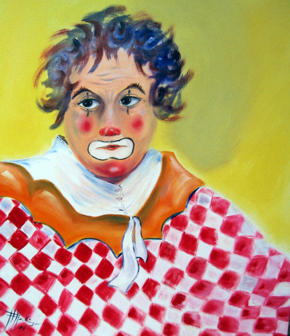 Harlekin, Clown, Traurig, Malerei, Real, Figural