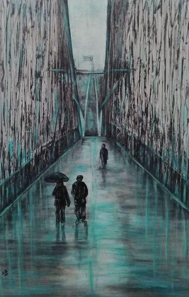 Brücke, Weiß, Regenschirm, Geländer, Spiegelung, Regen