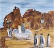 Surrealismus, Pinguine, Felsen, Wasser