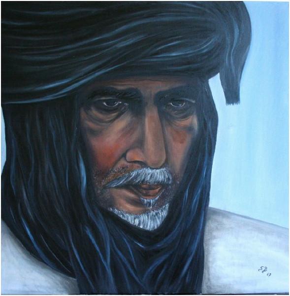 Mann, Menschen, Krieger, Arabien, Portrait, Blau