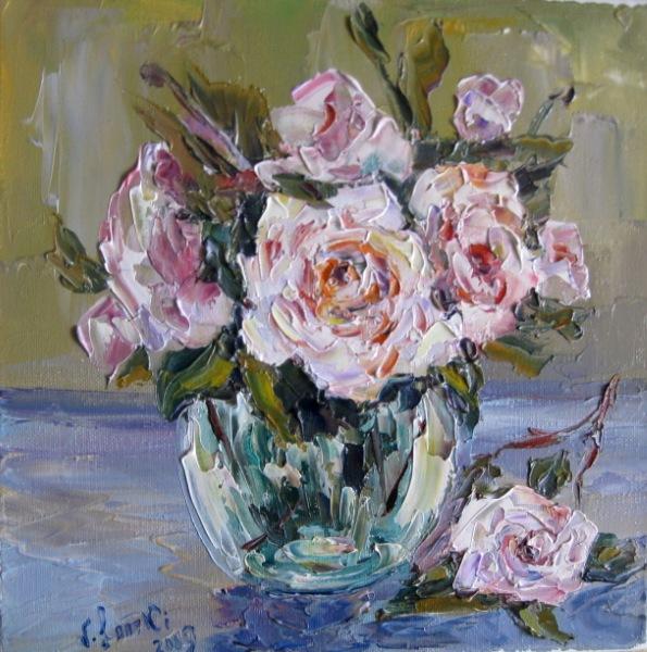 Malerei, Stillleben, Rosa, Stimmung