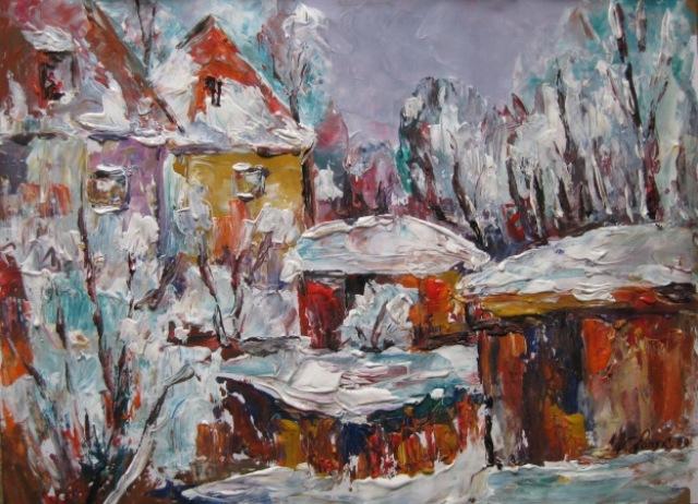 Malerei, Winterlich, Hof