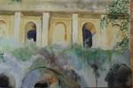 Felswand, Kirche, Fassade, Aquarellmalerei