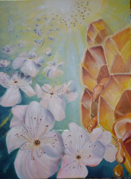 Grün, Wabe, Fliegen, Biene, Essen, Ölmalerei